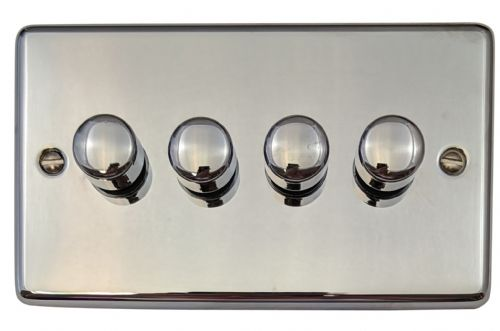 G&H CC14 Standard Plate Polished Chrome 4 Gang 1 or 2 Way 40-400W Dimmer Switch